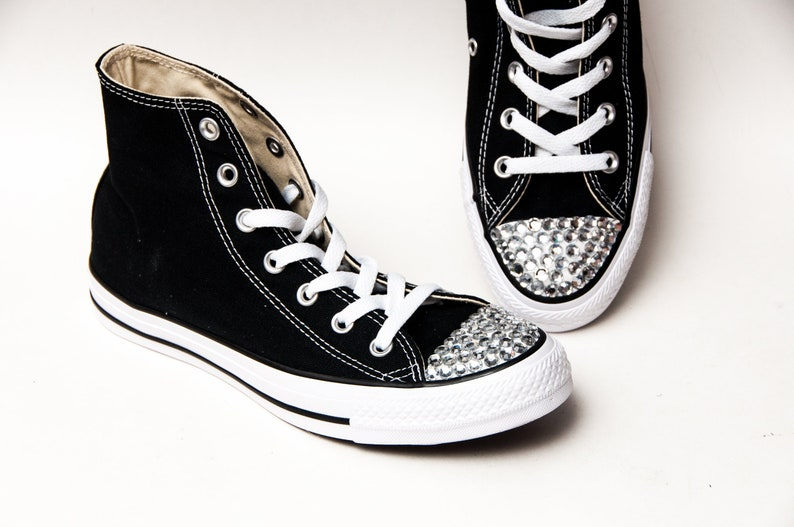 b37293690774 Rhinestone Toes Black Converse® Hi Tops Sneakers Shoes with
