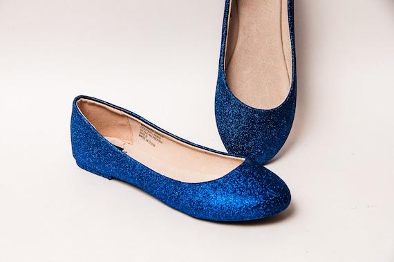 Navy Blue Glitter Ballet Flats  0dce7e68e