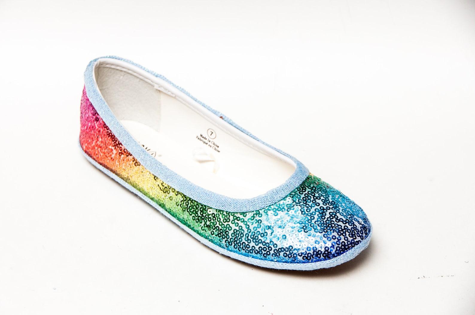 rainbow sequin ballet flats