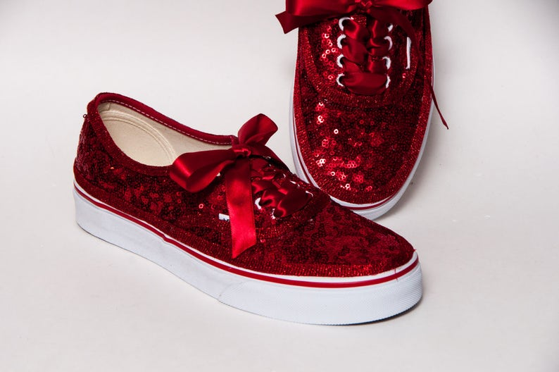 7e14ee0501cb Bridal Favorite Red Starlight Sequin Vans Authentic Classic