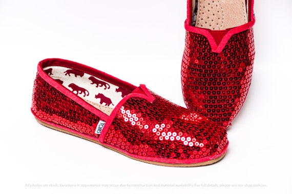Red Sequin Toms Shoes | Etsy