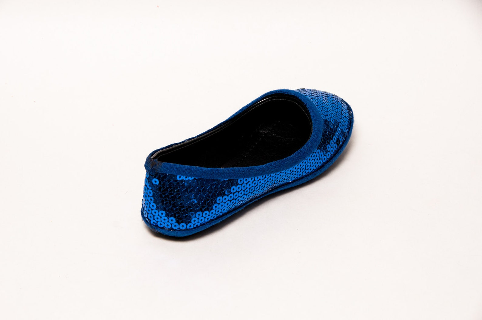 youth - sequin - sapphire blue ballet flat dress shoes