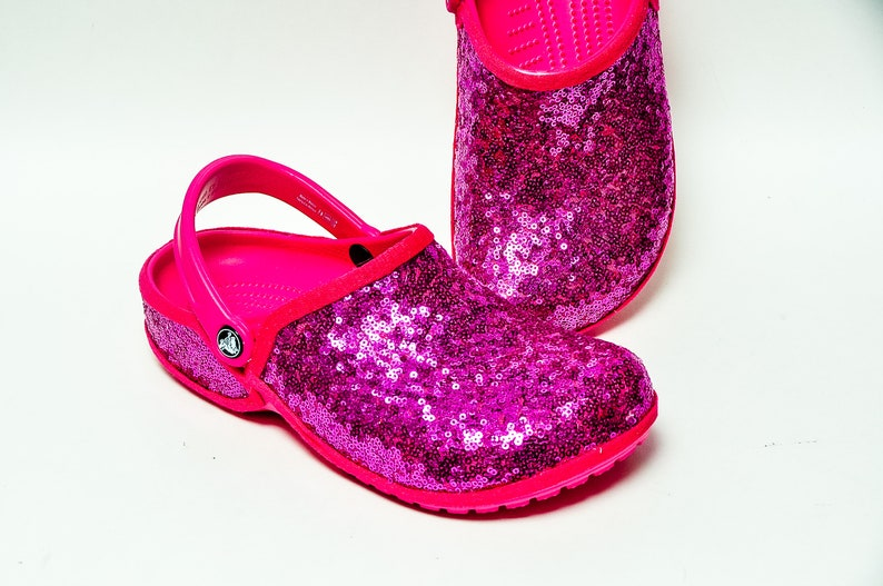1a860f28b Tiny Sequin Starlight Hot Fuchsia Pink Cayman Slip On Crocs