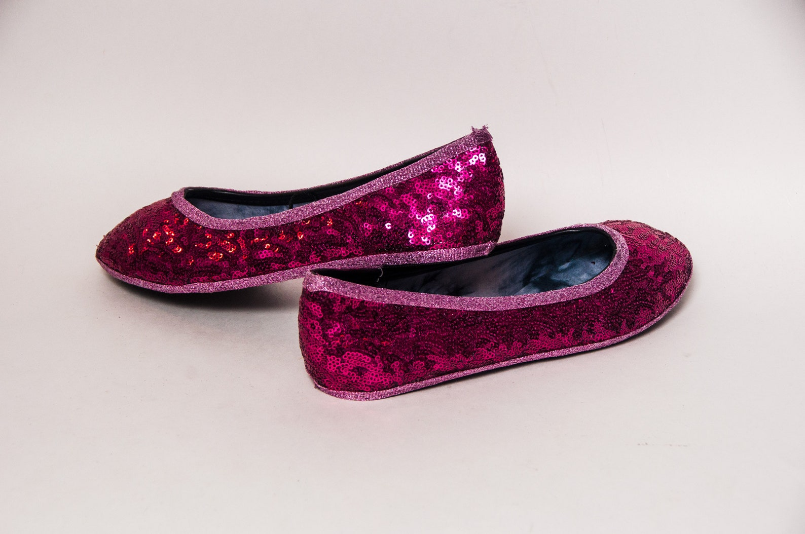 ready to ship - size 7 sequin hot fuchsia pink ballet flat slipper custom shoes