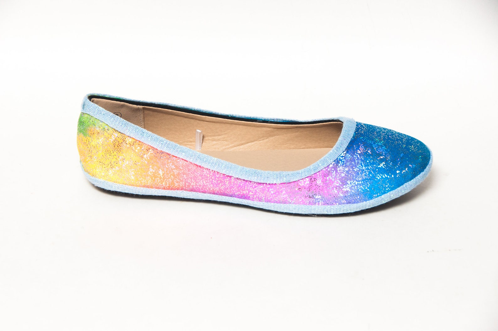 rainbow glitter fabric unicorn ballet flats shoes