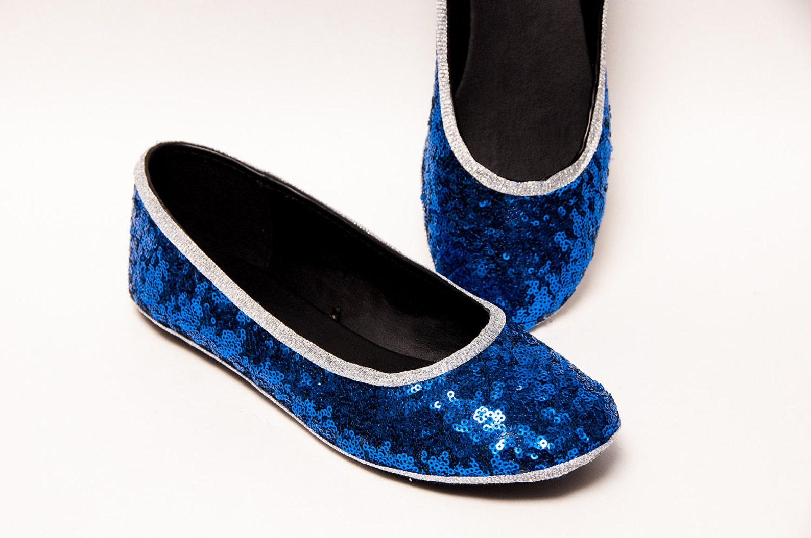 tiny sequin - starlight sapphire blue with silver accent trim custom ballet flats slippers shoes