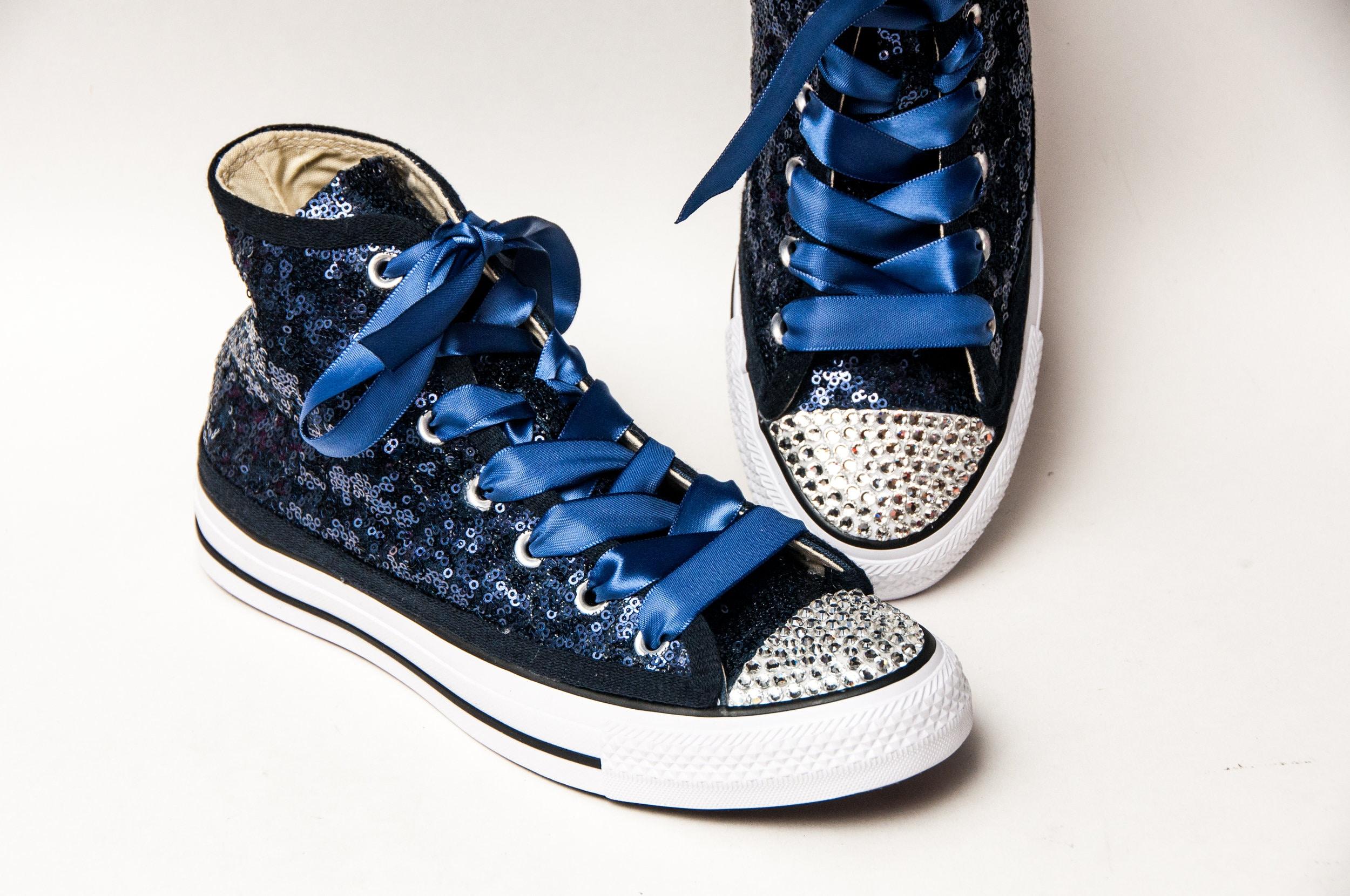 fc7a6a5ffd17 Bridal Full Starlight Sequin Navy Blue Converse® Canvas Hi