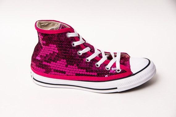 e3bad4d2b3260c Hot Fuchsia Pink Sequin Converse Hi Top Sneakers
