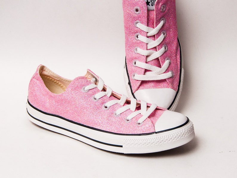 c72a96f10bbf Bubblegum Pink Glitter Converse Low Top Sneakers