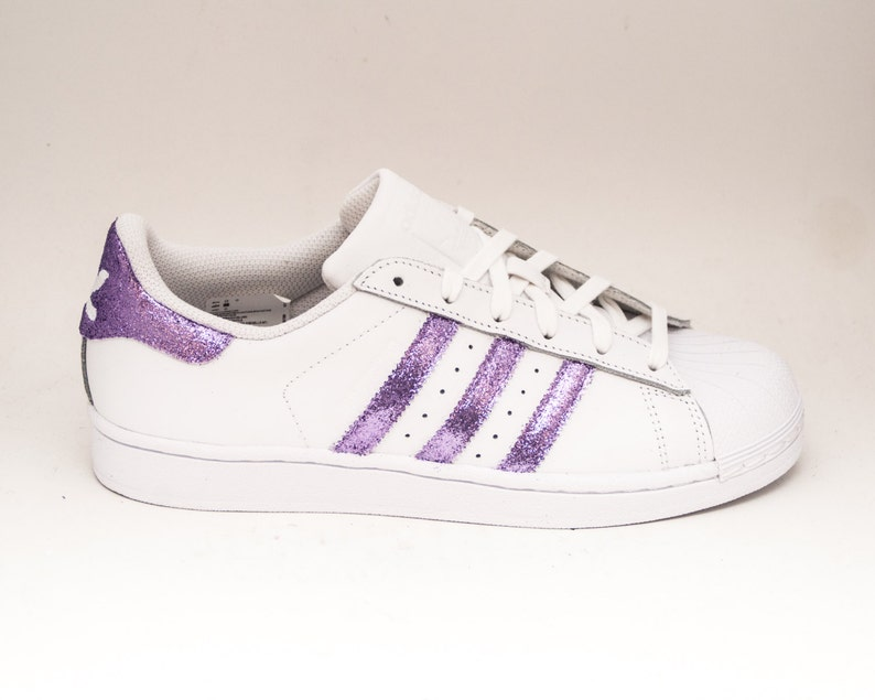 cheap for discount 2cf19 4d015 Lavender Light Purple Glitter Adidas Superstars II Fashion   Etsy