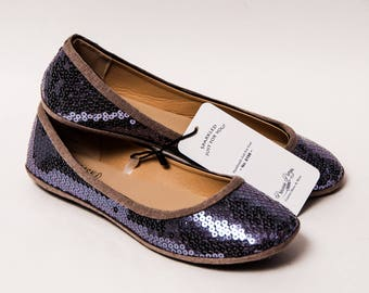 Ready 2 Ship - Size 11 Sequin Platinum Gray Sequin Ballet Flats Slippers Shoes