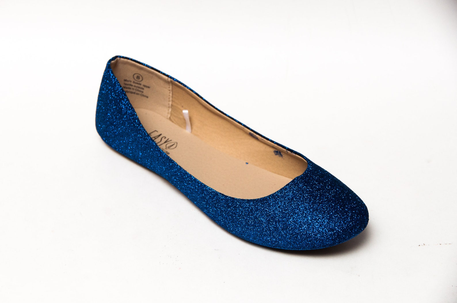 glitter - sapphire blue ballet flat slipper custom shoes