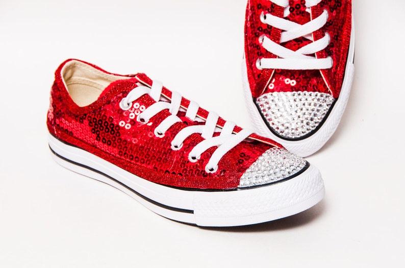 847f423a8188e Sequin toile rouge personnalisé Converse® basse baskets