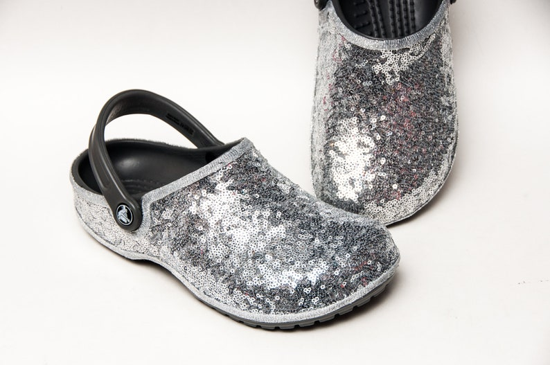 99823c9fa Tiny Sequin Starlight Sterling Silver Cayman Slip On Crocs
