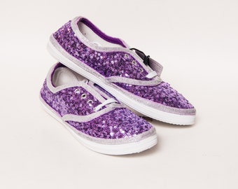 Ready 2 Ship - Size 7 WMNS Lavender Sequin with Silver Trim Canvas Sneakers Shoes