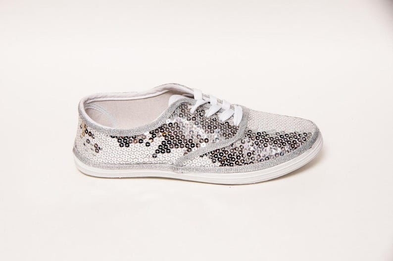 Silver Sequin Canvas Sneakers