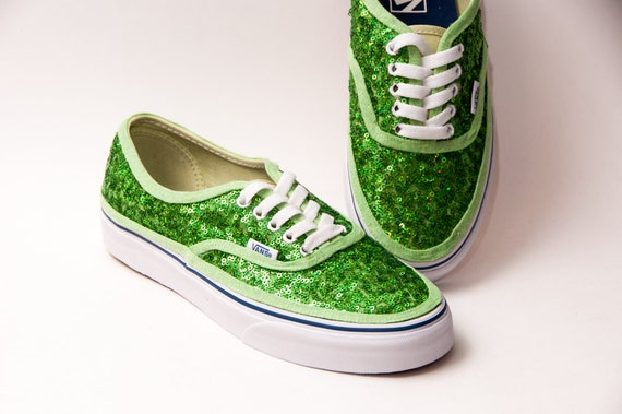 8b2a5a9e421048 Tiny Sequin Starlight Shamrock Green Authentic Vans Canvas