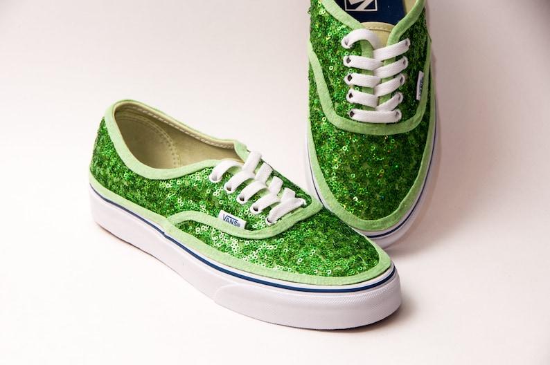 6b2fa5351f13e Tiny Sequin - Starlight Shamrock Green Authentic Vans Canvas Classics  Sneakers Shoes