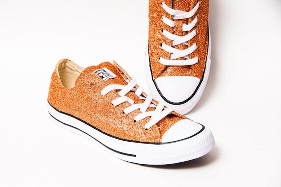 Orange Glitter Converse Low Top