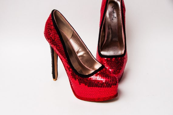 4453758c187 Sequin Red and Black High Stilettos Heel Pumps Shoes by