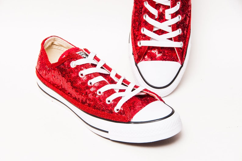 6c9020b99a3 Red Starlight Sequin Canvas Custom Converse® Low Top Sneakers
