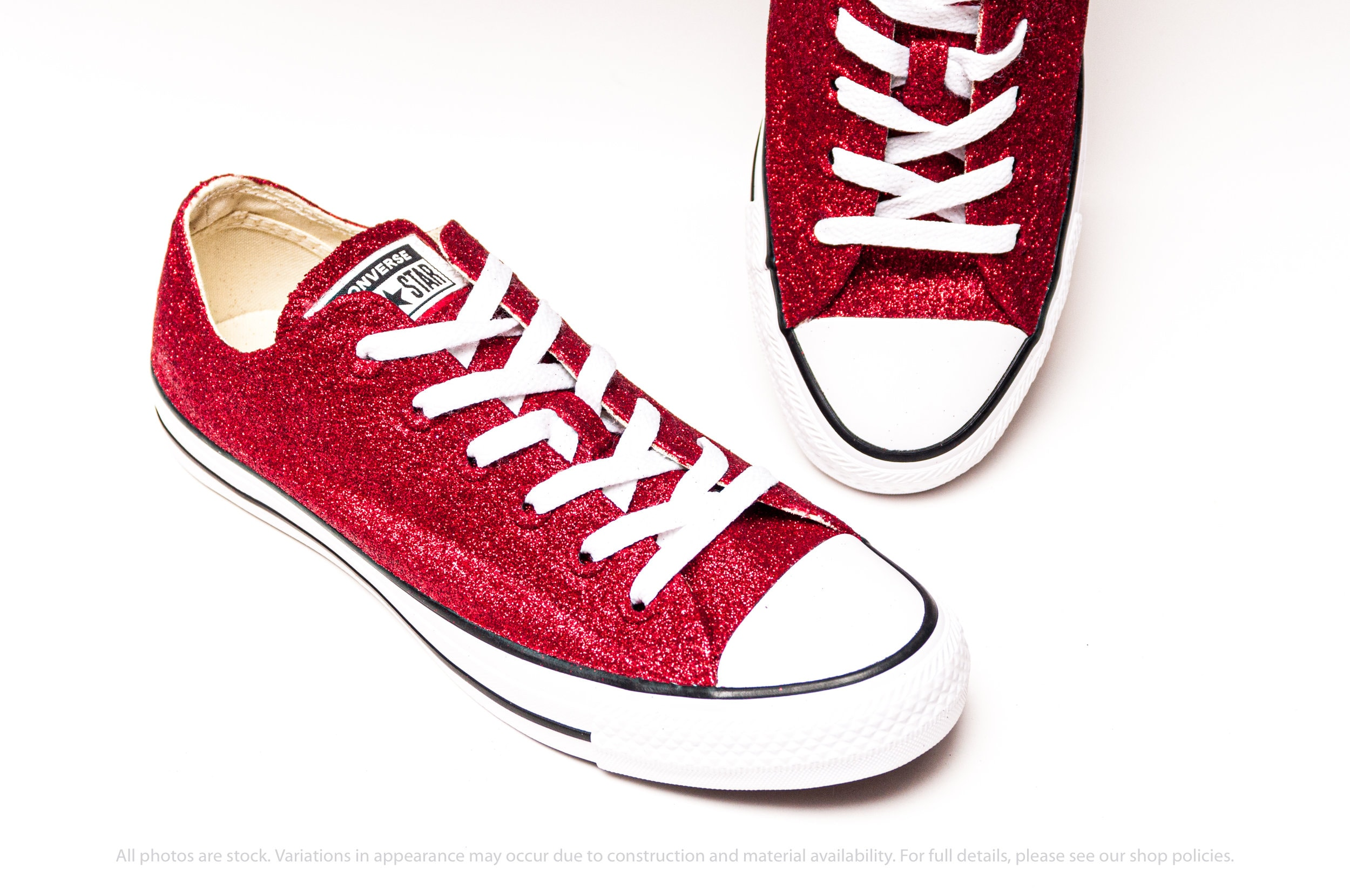 Red Glitter Converse® Low Tops