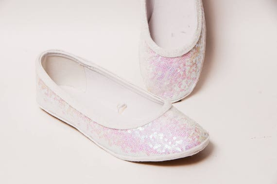 Sequin Crystal Iridescent Iris White Ballet Flat Slipper  1dc50a4c0