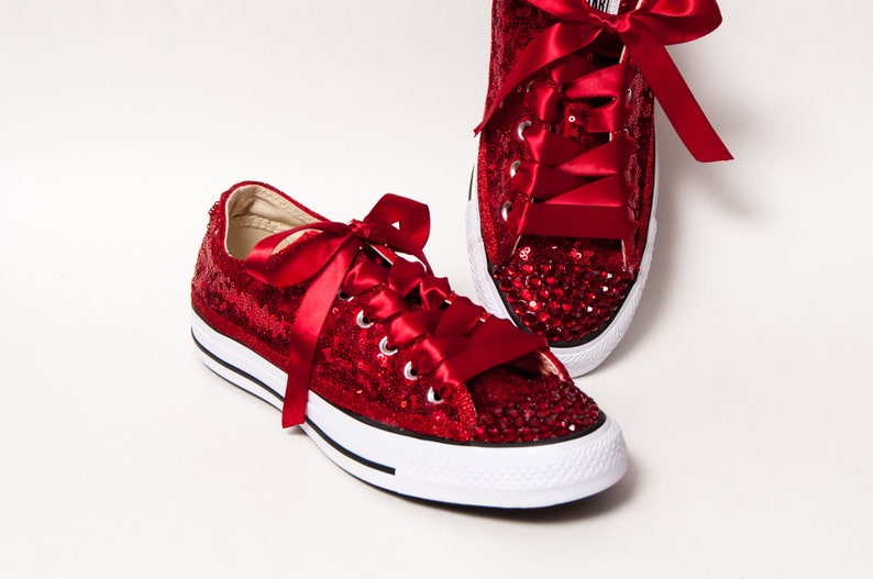 5a5ded00fa2 Bridal Tiny Sequin Starlight Red Canvas Converse® Low Top