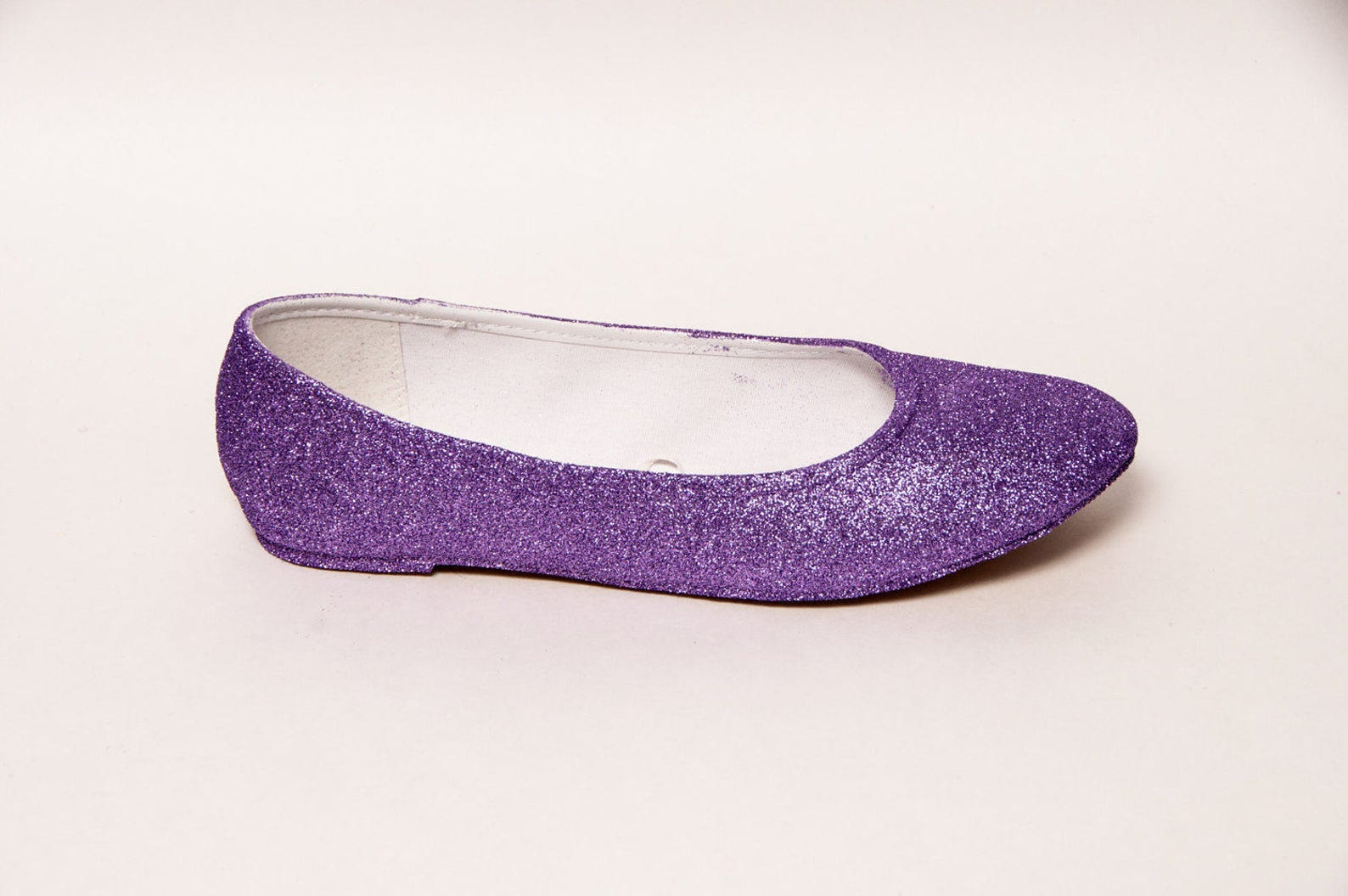 lavender purple glitter ballet flats