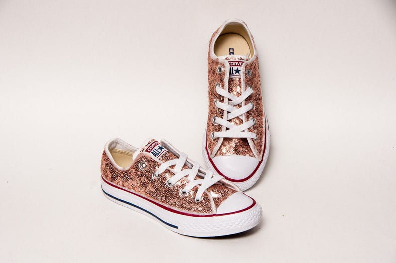 461d1ad11bc65 Sequin - Youth - Rose Gold Customized Converse® Canvas Low Top Sneakers