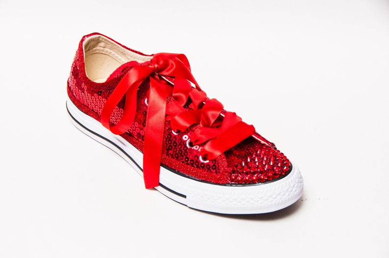 29bab0c9db8 Sequin Red Canvas Converse® Low Top Sneakers Tennis Shoes