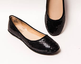 Sequin - Obsidian Black Ballet Flats Slippers Shoes by Princess Pumps