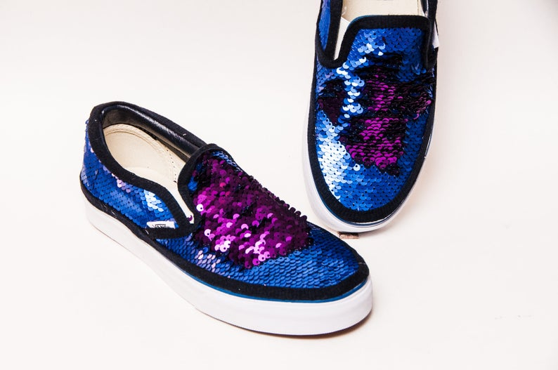 c9970ccab5fb Purple Navy Blue Reversible Sequin Vans Slip On Sneakers
