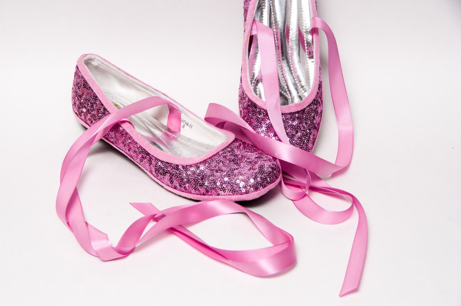 tiny sequin - blush pink ballet flats slippers shoes with matching ribbons