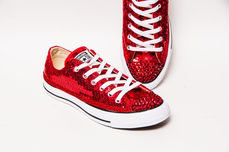 2f2adee0104f6f Tiny Sequin Starlight Red Canvas Converse® Low Top Sneakers