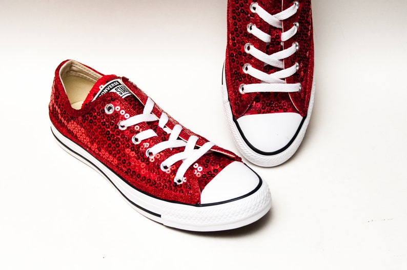 b9b9208cdb75 Red Sequin Converse® Low Top Sneakers
