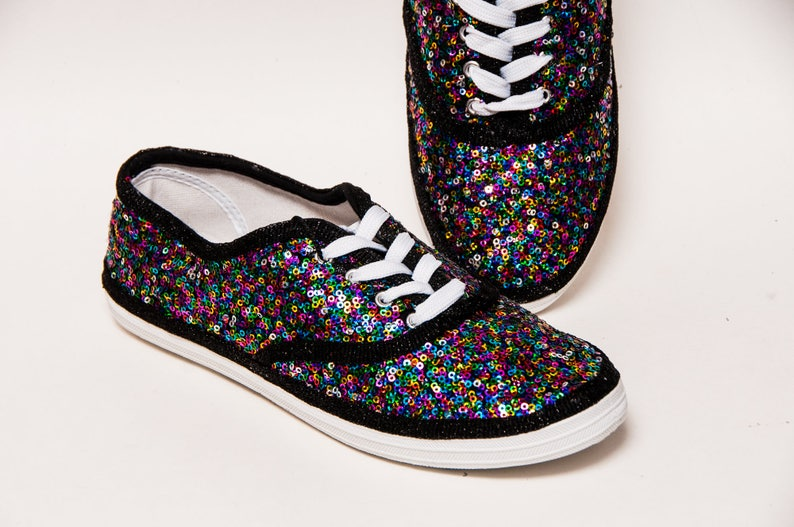 307dc5637b781 Sequin - Rainbow CVO Multi Color Speckled Custom Canvas Sneakers Shoes