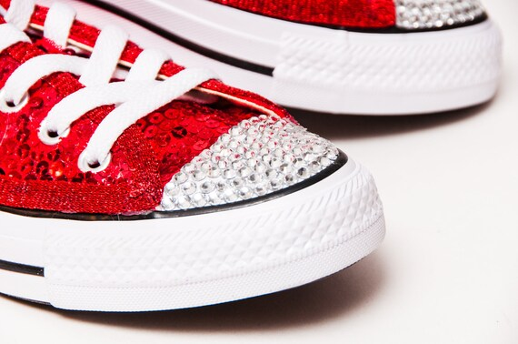 Bridal Favorite! Red Starlight Sequin Converse® Low Top Sneakers