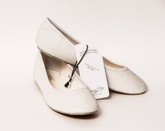 Ready 2 Ship - Size 7 Crystal Iris White Ballet Flats Slippers Shoes