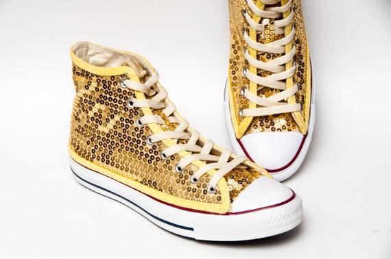 Gold Sequin Converse High Top Sneakers