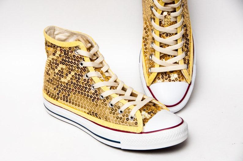 Sequin Gold Canvas Converse® Canvas Hi Top Sneakers Tennis  884c7b1c5