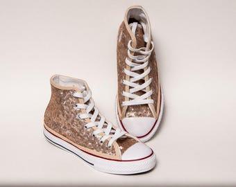 Children's Champagne Sequin Converse Sneakers