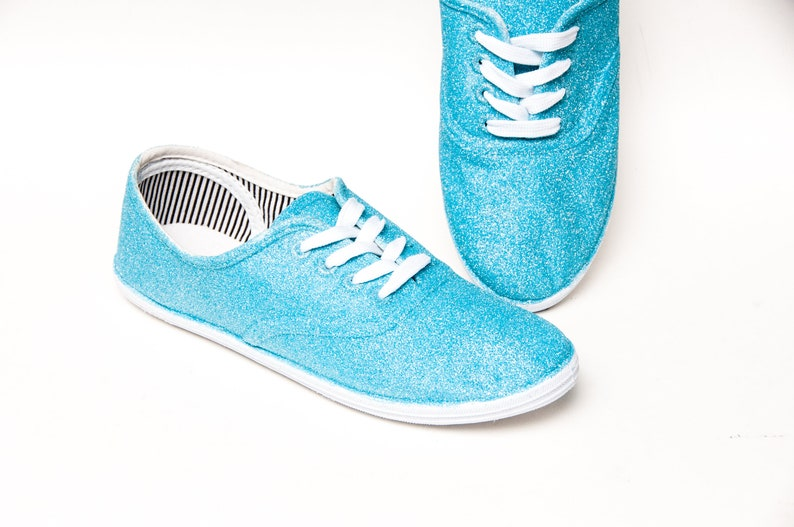 Glitter Hawaii Blue CVO Sparkle Canvas Sneakers Shoes
