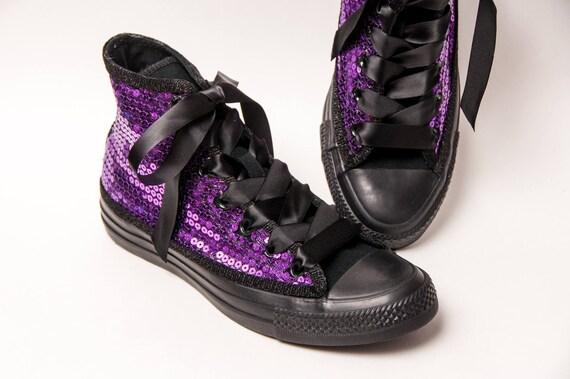 ee38fb7d54a Sequin Converse® Brand Purple and Black Canvas Hi Top
