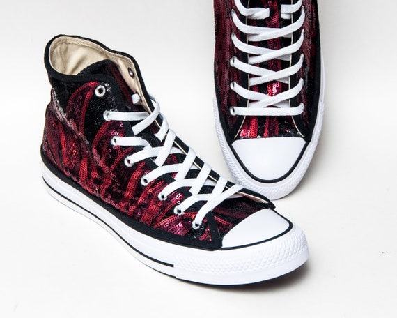 Phoenix Red and Black Fire Flame Sequin High Top Converse Sneakers