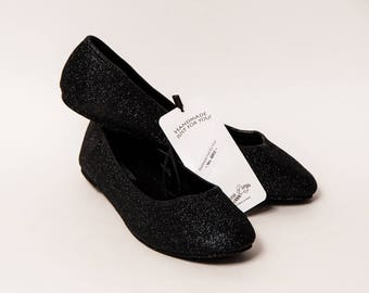 Ready 2 Ship - Size 9 Obsidian Black Ballet Flats Slippers Shoes