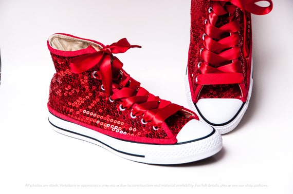 Red Pailletten Converse® High Top Sneakers mit roten Optionen