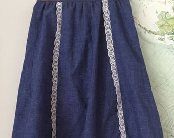 Sweetest 60s Handmade Denim and Lace Skirt Small