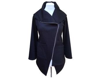 Asymmetrical zipper jacket, black jacket, high collar, drape, black zipper, steampunk, edgy, contemporary zip up,sweatshirt,sweater,Engayla.
