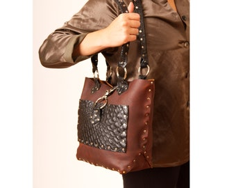 Leather tote bag, brown black cowhide, brown tote with black embossed pocket,rivet detail,stylish,travel, roomy, sturdy, purse feet, Engayla